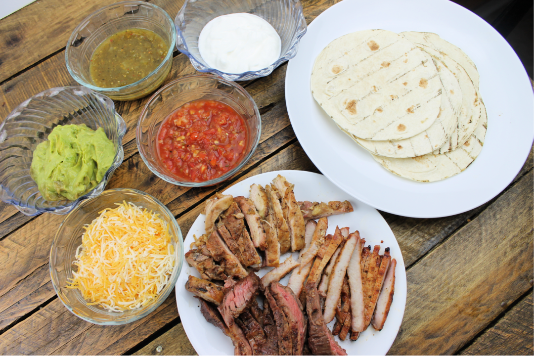 Chicken, Pork, and Beef Fajitas